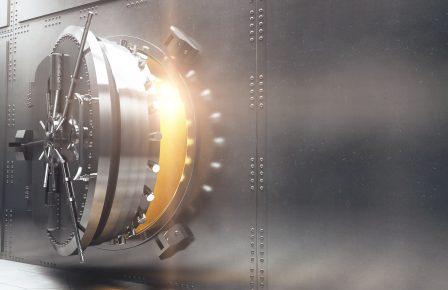 Bank vault closeup sideview. 3D Render
