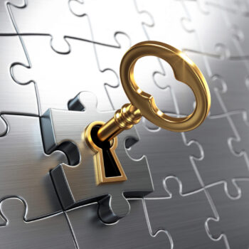 Golden key and puzzle