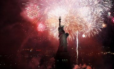 Fireworks behind statue of liberty