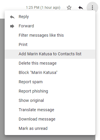 Gmail Add To Contact