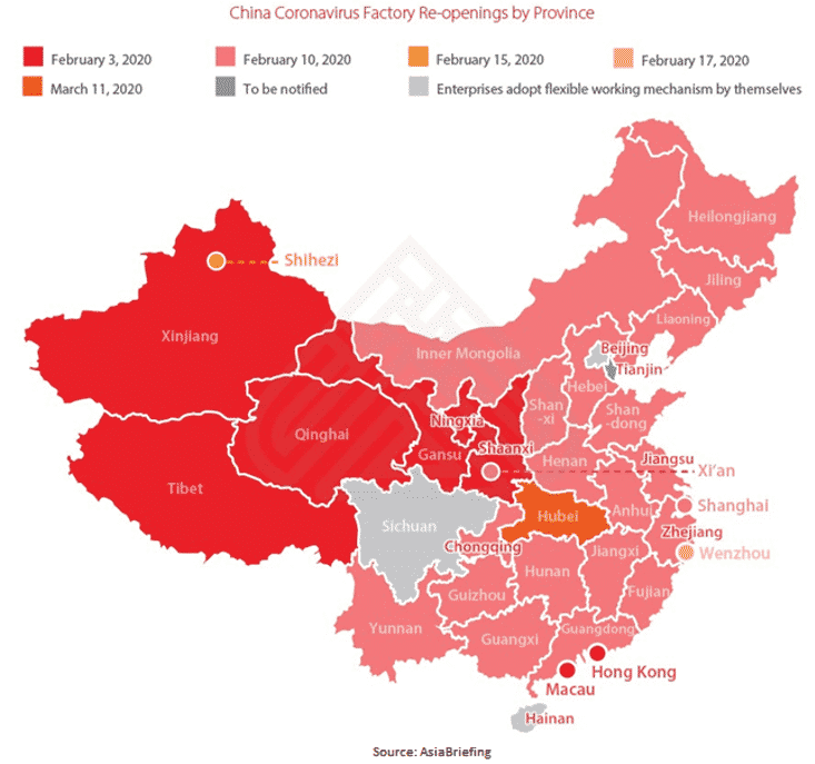 Map of China Coronavirus Factory Re-openings by Province